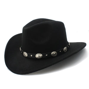 LUCKYLIANJI 100% Wool Felt  Women Men Western Cowboy Hat With Wide Brim Punk Leather Belt  Jazz Cap (One Size:57cm/US 7 1/8)