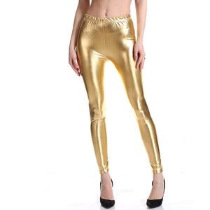 Sexy liquid Wet Look Shiny Metallic Stretch Leggings Women 70s 80s Neon Glossy Skinny Leggings Disco Dance Costume Pants