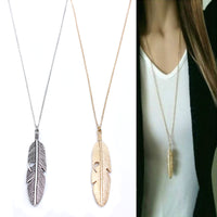 Simple Classic pendant Necklace Feather Necklace Long Sweater Chain Statement Jewelry