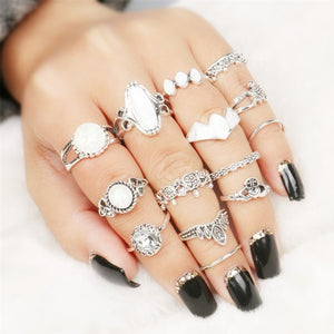 Retro Crown Crystal Ring Knuckle Wedding Ring Set Steampunk Anillos Anel Rings Gold Silver Moon