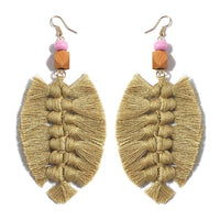 MANILAI Handmade Tassel Earrings For Women Bohemian Big Leaf Cotton