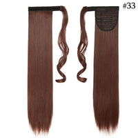 "SNOILITE 24"" Long Straight Clip In Hair Tail False Hair Ponytail Hairpiece With Hairpins Synthetic Hair Pony Tail Hair Extension"