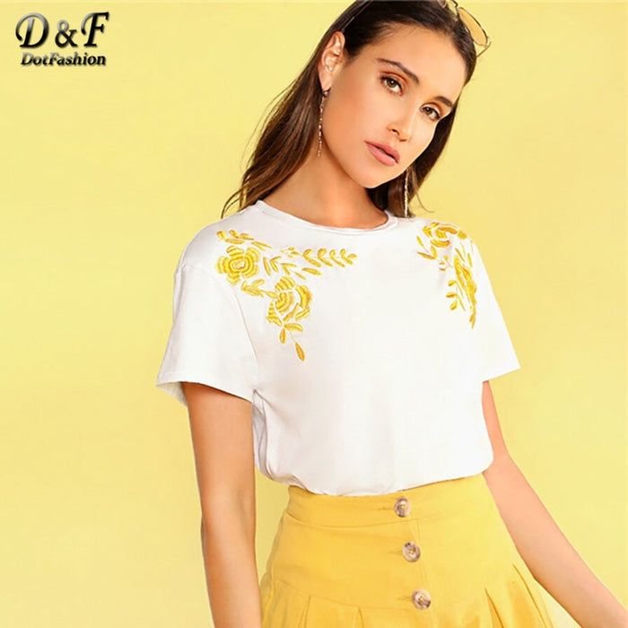 White Flower Embroidered Detail Tee Women Summer Casual Tops Short Sleeve Clothing