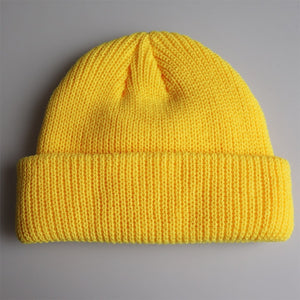 Solid Colors Short Beanies Hat for Men Women Winter Knit Cap Hip Hop Streetwear Skullies Yellow Orange Beige Grey Navy Black
