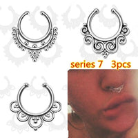 3PCS fashion Crystal fake nose ring round shape Fake septum Piercing Hoop For Women