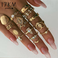 Boho Gold Heart Midi Ring Sets For Women New Anillos Vintage Leaf Flower Crystal Opal Knuckle Rings