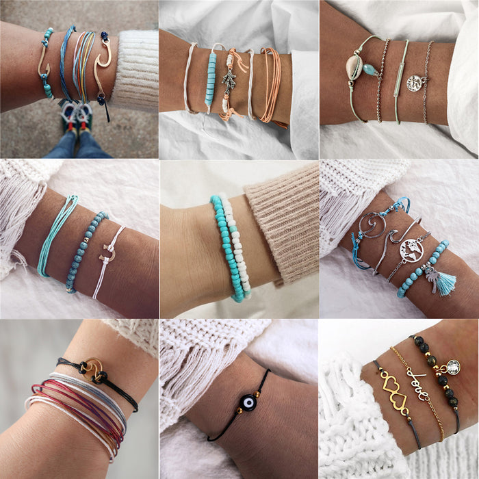 docona 9 style Wave Map Tree Eye Shell Charms Multi Layer Bracelet Set