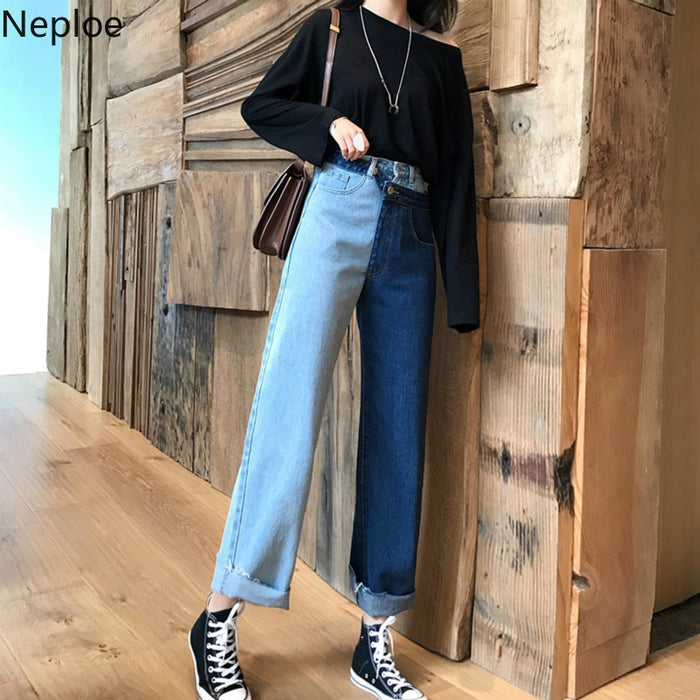 Neploe Jeans Female Denim Pants Patchwork High Waisted Womens Jeans Feminino Skinny Pants For Women Straight Trousers 38539