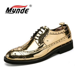 Mynde Luxury Leather Brogue Mens Formal Flats Shoes Men Fashion Pointed Oxfords