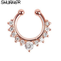 SHUANGR Crystal Fashion Clicker Fake Septum for Women Body Clip Hoop
