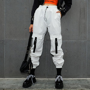 April MOMO 2019 Casual White Cargo Pants Women Hip Hop Streetwear Track Pants Capris Elastic High Waist Trousers Sweatpants