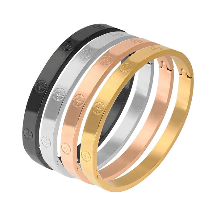 Trendy Stainless Steel Luxury Brand Bangle Bracelet Woman Man Rose Gold