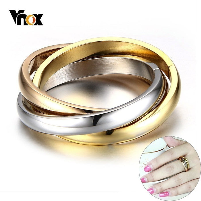 Classic 3 Rounds Ring Sets Women Stainless Steel Wedding Engagement Female