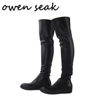 Owen Seak Men Shoes Over Knee High Boots Luxury Trainers Sheepskin Leather