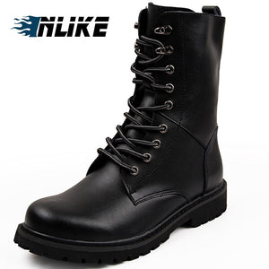INLIKE Men Big Size Motorcycle Boots Genuine Leather Cool Rivet Combat Army