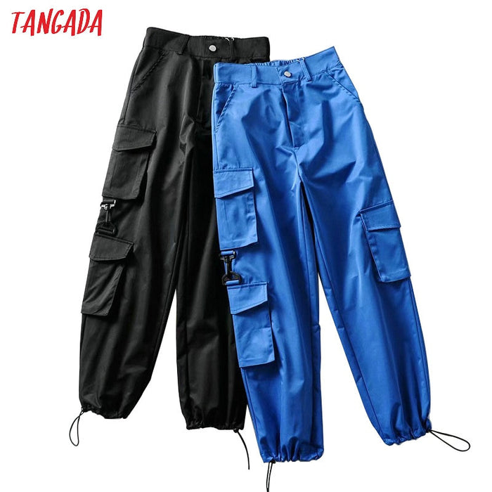 Tangada women casual solid cargo pants pockets elastic waist full trousers stylish blue trousers pantalones 2T04