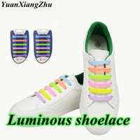 12 pcs/Set Silicone Light up Fashion  Luminous Shoelaces Flash Party Glowing Shoe