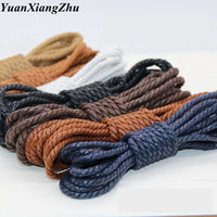 1Pair Shoelce Casual Leather Shoelaces Waxed Round shoes lace Shoestring Martin