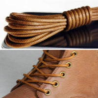 1Pair Waxed Cotton Round Shoe laces Leather Waterproof ShoeLaces Men Martin