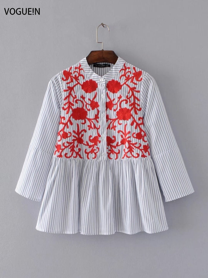 VOGUE!N New Womens Red Floral Embroidered Striped Print 3/4 Sleeve Blouse Tops Shirt