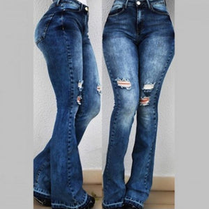 2019 Women High Waist Flare Jeans Skinny Denim Pants Sexy Push Up Trousers Stretch