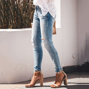 S-3XL High Quality Casual Casual Women Skinny Ripped Jeans Distressed Denim Pants Hole Bottoms Travel Teenage