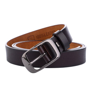 F&U Second Layer Cow Genuine Leather Belt Luxury Strap Dress And Jeans Belts For Women Fashion Vintage Shining Black Buckle