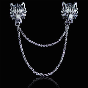 Vintage Angel Wings Deer Wolf Cat Brooch  For Women Multiple Layers Chain Crown Skull Head Brooches Shirt Collar Pins Broches
