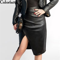 New Women Midi Skirt PU Leather Black High Waist Asymmetrical