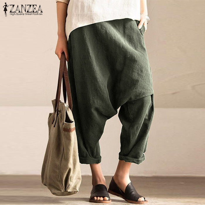 Casual Drop-Crotch Trousers Womens Pants Autumn 2019 ZANZEA Vintage Elastic Waist Harem Pant Female Long Pantalon Palazzo 5XL