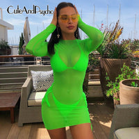 2019 Long Sleeve Summer Dress Sexy Casual Mesh Neon Bodycon Dresses Women