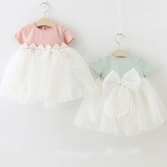 Kid Princess Baby Flower Girl Dress Lace Bowknot Party Gown Bridesmaid Dress