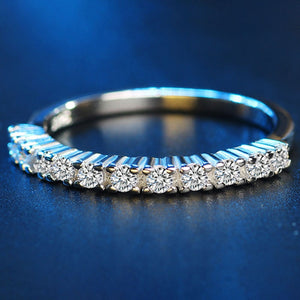 Single Row white Zircon Wedding Ring for Women Micro-inlaid Simulation