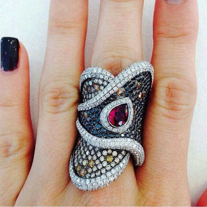 Luxury Full Micro Pave Black CZ Stone Ring For Men Women Exaggerated Jewelry