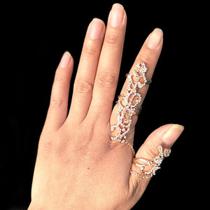 cute Occident Women Chic Alloy+Rhinestone Shiny Crystal Floral Ring
