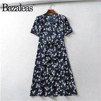 Bazaleas Vintage Green Floral print wrap dress Fashion buttons fastening tie front women dress Casual midi vestido
