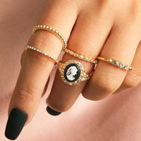5Pcs/Set Cameo Pendant Cubic Zirconia Knuckle Midi Finger Ring Jewelry