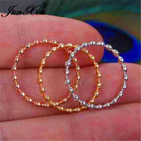 Boho Female Crystal Stacking Thin Rings For Women 925 Silver Rose Gold Filled Minimalist Bridal Wedding