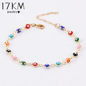17KM Gold Sliver Beads Turkish Eyes Bracelet For Woman Bohemian brincos