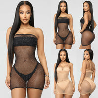 Sexy Women Glitter Sequins Shiny Mesh Sheer See-through Dress Bikini Cover Up Beach Mini Dress
