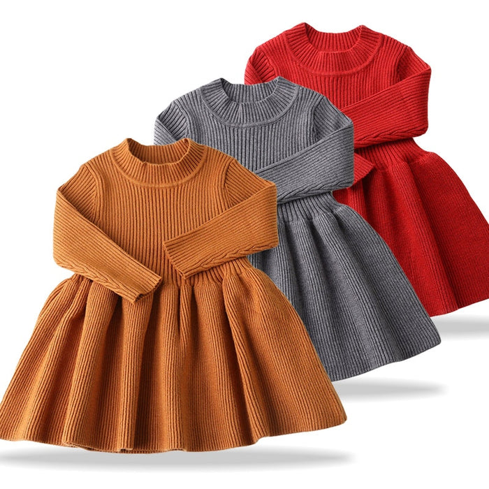 Newborn Baby Party Dress 2019 Autumn Winter Dresses For Baby Girls Knitting Baptism Princess Dress Infant 1 Year Birthday Dress