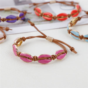 Fashion Colorful Cowrie Shell Charm Bracelets for Women with Rope Chain Bracelet
