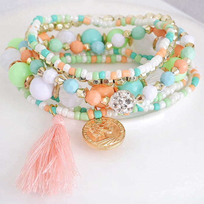 Women Fashion bracelet Multilayer Beads Bangle Tassels Bracelets beaded