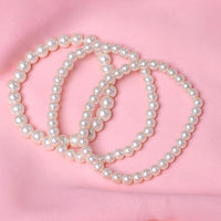 SUKI 3 PCS/Set Charm Simulated-pearl Beads Bracelet White Color
