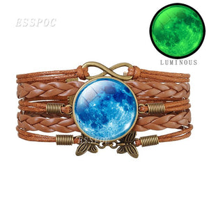 Luminous Full Moon and Planet Glass Dome Braided Bracelet Glow In