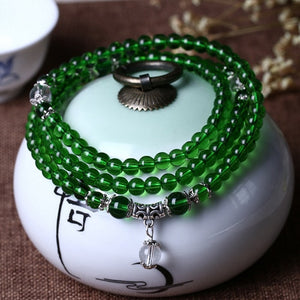 Women's Fashion bracelet green Natural Crystal Beads Bracelet tassel Multi