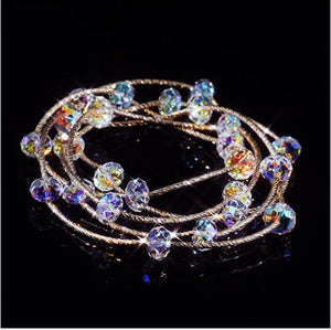 High quality S925 pure silver plated rose gold colorful multi-layer crystal bracelet
