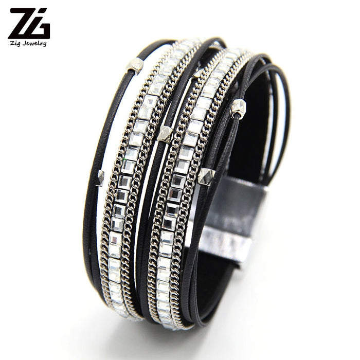 ZG Leather Bracelets For Women 2018 Fashion Leaf Charm Crystal Boho Multi