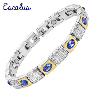 Escalus Trendy Royal Blue CatEye Stone Magnetic Jewelry Silver Color Bracelet