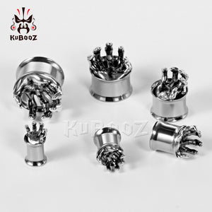 Tunnels Stainless Steel Double Flared Hand Plugs Body Jewelry Expander Gauges